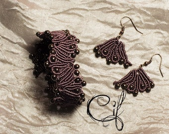 Purple Macrame Bracelet Earrings Hematite-Fans