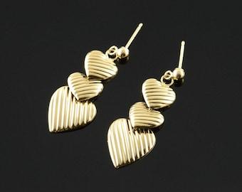 14k Ribbed Hollow Heart Dangle Earrings Gold