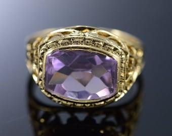 10k 2 Ct Amethyst Filigree Baby Ring Gold