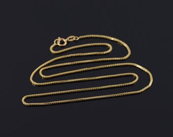 1.1mm Box Link Chain Necklace Gold