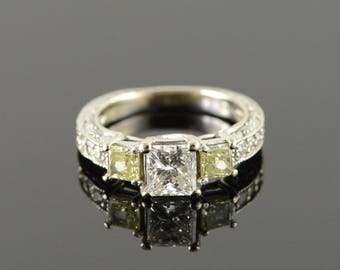 14k 1.00 CT Princess Cut Center 0.75 CTW Fancy Yellow Diamond Engagement Ring Gold