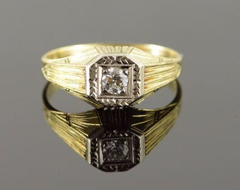 14k 0.20 CT Diamond Art Deco Engraved Engagement Ring Gold
