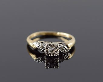 14k 0.10 CTW Two Tone Diamond Engagement Ring Gold