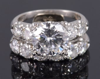 GIA 1950's 3.02 Ct Center Round VS G Diamond Engagement Ring Platinum