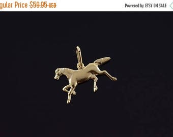 Big SALE 14k 2D Galloping Horse Equestrian Charm/Pendant Gold