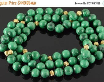 Big SALE 14k 10mm Malachite Gold Ball Bead Necklace Gold 35""