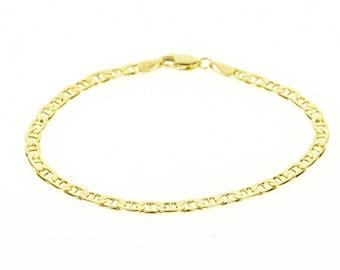 """14k Pressed Anchor Link Chain Bracelet Gold 7"""""""