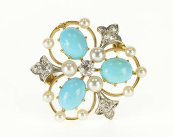 18k 0.34 Ctw Diamond Turquoise Pearl Victorian Pin/Brooch Gold