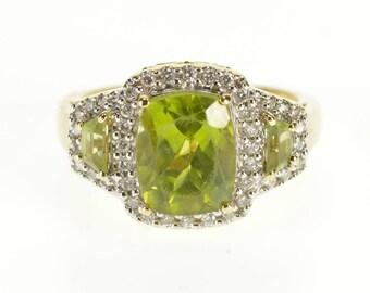 14k 3.90 Ctw Peridot Diamond Halo Three Stone Ring Gold
