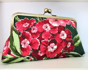 "Deep Pink Primrose on Green Ground Vintage Barkcloth Fabric 8"" Antique Brass Kisslock Frame Clutch Wristlet Crossbody Shoulder Bag Purse"