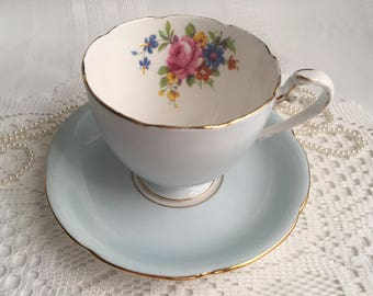 Reserved Grafton China Tea Cup and Saucer, Light Blue with Colourful Floral Centres, Gold Trim
