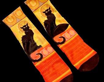 Art Socks - Le Chat Noir Designer Socks -Steinlen's Poster Cat - Feralartist Exclusive - Artsy - Artists - Cat Lovers' Apparel