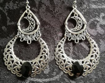 Luna gothic dangle earrings-gothic earrings-gothic drop moon earringp-wiccan-occult jewelry