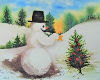 "Original Signed 8""X10"" Painting, ""Christmas Star"""