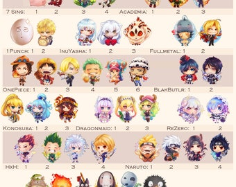 Complete Collection Cute Keychain Clear Charms games anime manga animals