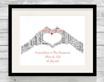 Personalised Love Heart Hands Word Art Print Bespoke Typography Love, Proposal, Wedding, Civil Ceremony/ Partnership