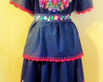 Traditional black  Hungarian Hand embroidered Matyo outfit all size