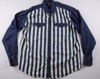 90s Long Sleeve Casual Denim Jean Button Shirt Mens XL Tall Striped, Vintage Western Denim Shirt, Vintage Denim Shirt, Denim Jean Shirt Blue