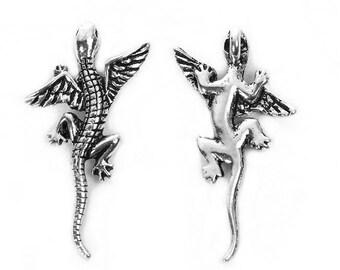 10 pendants antiqued silver dragon lizard