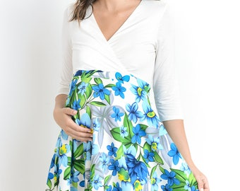 Hello Miz Floral Print Crossover Maternity/Nursing Dress