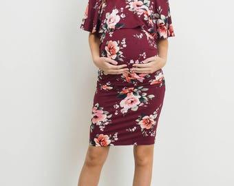 Hello Miz Off Shoulder Ruffle Fitted Maternity Dress
