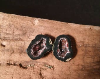 Cranberry Crush Micro Tabasco Geode Pair #417A