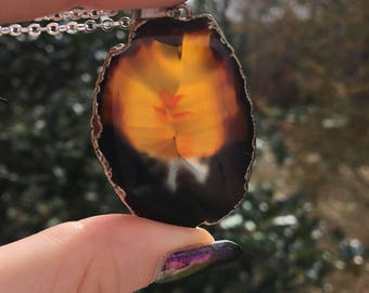 """Natural Amber Colored Agate Slice Pendant Necklace 
