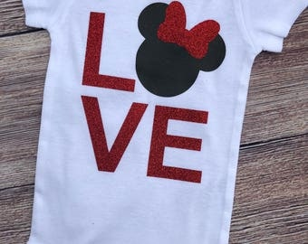 Love Minnie Mouse Baby Girl Infant Bodysuit