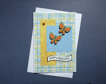 Bright Butterfly Birthday Card  FREE SHIPPING