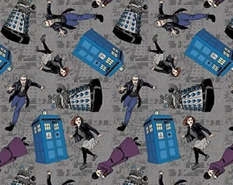 Dr. Who Dear Character  Book Toss Cotton Fabric Spring BTY