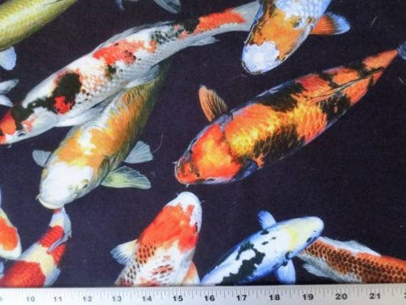Petal party citrus toile bird cotton fabric chong a hwang for Koi fish print fabric