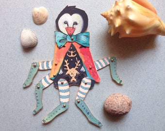 paperdoll penguin, penguin art, many legs, handmade doll, articulated doll, fairytale papercut, fantasy art, nautical art, cut art, wall art