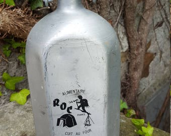 French Vintage Water Flask / Vintage Water Flask / Aluminium Kitchen Decor / Vintage 'Roc Alimentaire'  / Mid 20th century Flask