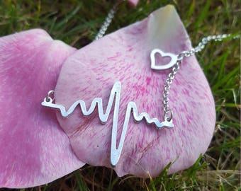 EKG Heartbeat Necklace Chain made of 925 Sterling Silver for Geeks Nerds Girlfriend Present Gift by Serebra Jewelry