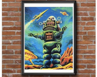 24x32 Size - Robby the Robot Poster – Forbidden Planet 1956 Sci-Fi Icon