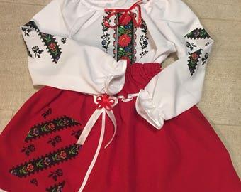 Ukrainian national ethnic style costume for girl embroidered folk style vyshyvanka