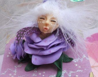 Ooak sleeping fairy in a rose with wooden box in polymer clay