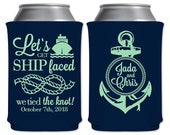 Neoprene Coolers Beverage Insulators Customized Wedding Favors | Let's Get Ship Faced We Tied The Knot | Beer Can Holders | READ DESCRIPTION