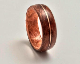 Men's ring, Wooden Wedding Band ,14k Gold Inlay, Ebony Wood ring, Gold Inlay, Hand Crafted, Wooden Ring, Wood Gold Ring, Luxe, Gift for men