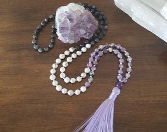 Amethyst, black howlite and labradorite mala 108 beads, stones, yoga, meditation