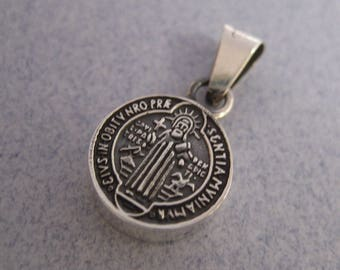Religious St. Benedict Small Round Oxidized 925 Sterling Silver Taxco Mexico Pendant