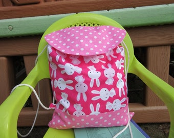 Backpack child, maternal, straps, polka dots, Pink White rabbits