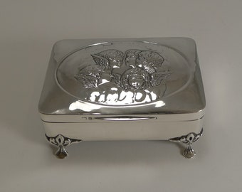 Stunning Antique English Sterling Silver Jewelry Box - Cherubs / Angels