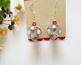 Spotty Earrings - Sterling Silver Earrings - Gifts for Her - Lampwork Glass - Spotty Beads - Earrings - Swarovski Crystals - Polka Dot - UK