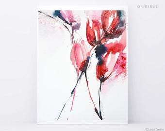 ORIGINAL flower watercolor, abstract flower painting, red watercolor, red flower art, abstract red flower, abstract flower
