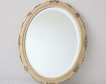 Vintage Oval Hanging Mirror, Ornate Cream and Gold Wooden Frame, Home Decor