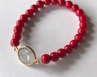 Handmade Bracelet With Red Corals & Crystal | | Beaded Bracelet | Stretch Bracelet | Stackable Bracelet | Bridesmaid Bracelet