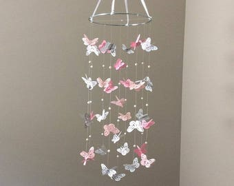 Pink Butterfly Mobile - Pink, White and Grey Butterfly Mobile - Butterfly and Pearls Mobile - Small Butterfly Mobile - Pink Butterfly