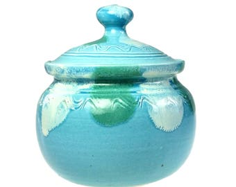 Dryden Arkansas Original Loi Art Pottery Ceramic Sugar Bowl Turquoise Drip