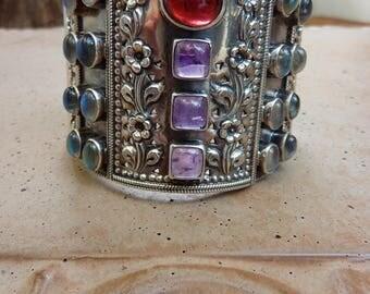 Vintage Soms Wide Heavy Sterling Silver Ruby Amethyst Moonstone Cuff Clamper Bracelet
